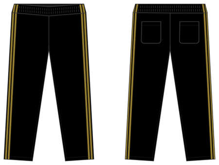 Sports jersey pants vector template illustration / black and gold