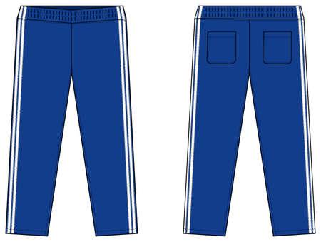 Sports jersey pants vector template illustration / blue and white Vektorgrafik
