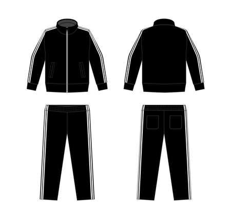 Casual jersey suits (for sports, training etc.) vector illustration set / white and black Ilustracja
