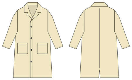 Long coat, trench coat vector template illustration / natural