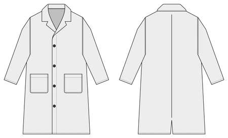 Long coat, trench coat vector template illustration / white