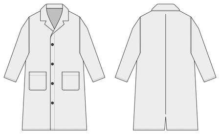 Long coat, trench coat vector template illustration / white