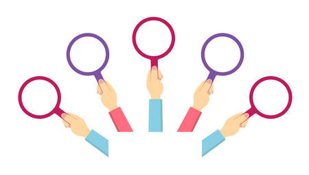 Hand holding magnifying glass vector illustration set / female Illustration