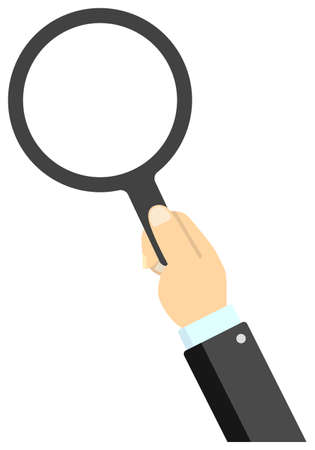 Hand holding magnifying glass vector illustration / male business person 矢量图像
