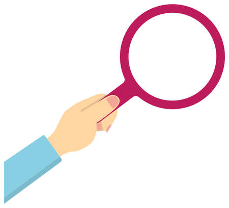 Hand holding magnifying glass vector illustration / female