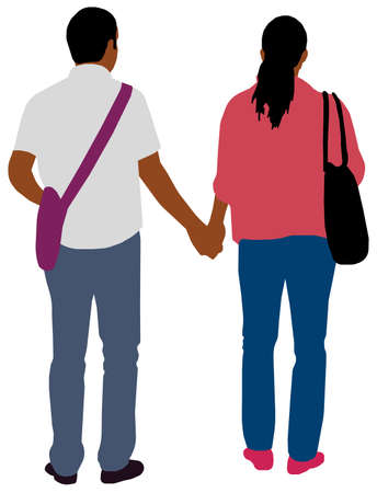 Black People (daily common life ) silhouette vector illustration / couple, behind Çizim