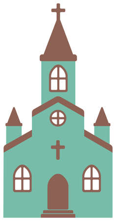 cartoon church flat design illustration (front view)