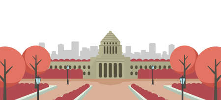 Japanese parliament building vector banner illustration / sunset, sunrise