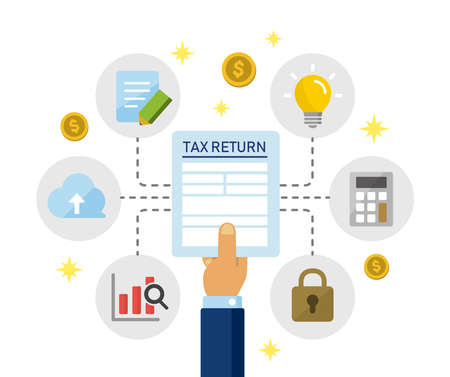 Tax return, submit tax document, tax form /cartoon banner illustration