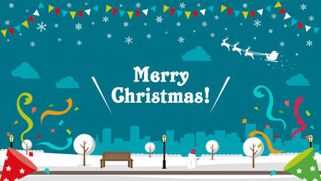 Christmas park scenary vector banner illustration ( winter season ) Çizim