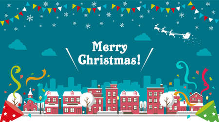 Christmas cityscape vector banner illustration (winter season) Çizim