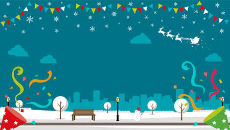 Christmas park screen vector banner error ( winter season ) / no text