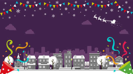 Christmas cityscape vector banner error (winter season) / no text