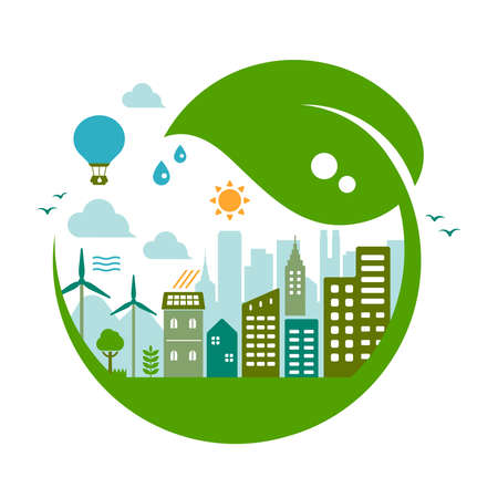 Green eco city vector illustration ( ecology concept , nature conservation )