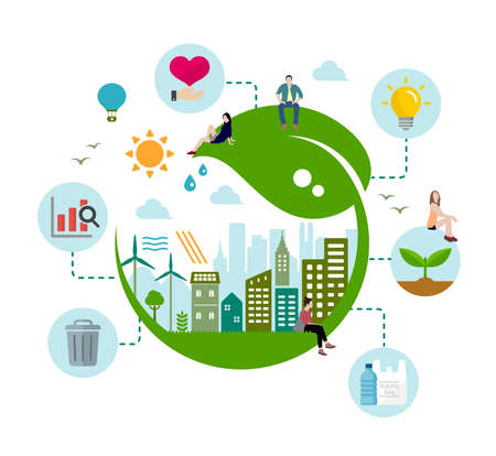 Ecology life, eco city vector illustration ( ecology concept , nature conservation )