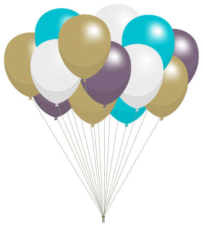 Colorful helium balloons vector illustration Çizim