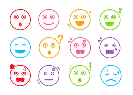 Cartoon face rubber stamp vector illustration set ( color variations) Çizim