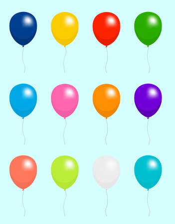 Colorful helium balloons vector illustration set Çizim