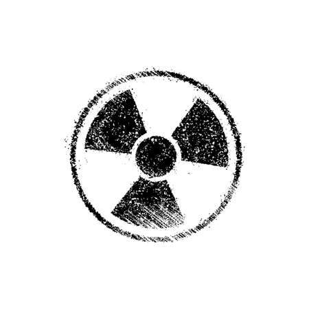 Grunge radiation symbol (toxic sign) vector illustration Çizim