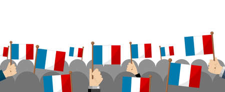 People holding the national flag in hand , vector banner illustration / France