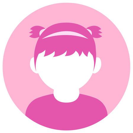 Circular vector avatar illustration ( female )