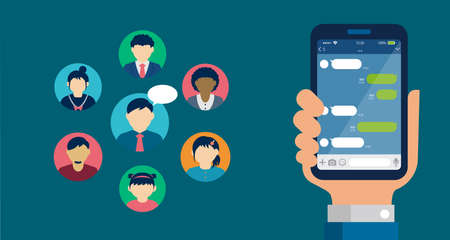 Hand holding smartphone vector banner illustration ( SNS, Chat app motif )