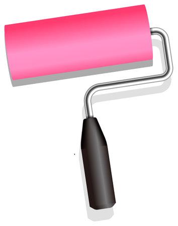 Roller painter, paintbrush vector illustration (Pink)