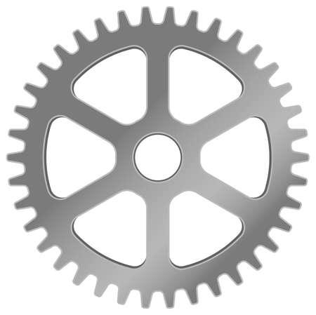 Realistic machine gear, cogwheel vector illustration ( silver )