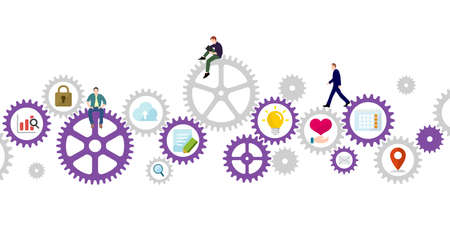 Business concept vector illustration. Gear wheel (technology) and people's life.