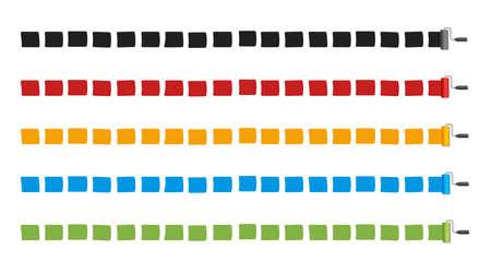 Border line drawn with roller painter, paintbrush. Vector illustration (long strokes) . Color variations set. Illusztráció
