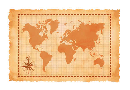 Old vintage world map vector illustration 