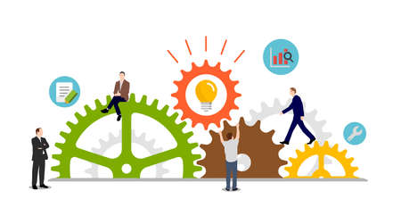 Business success ( idea, inspiration ) concept vector illustration. Gear wheel and people.