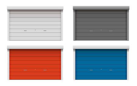 Roller shutter door vector illustration set ( color variations )