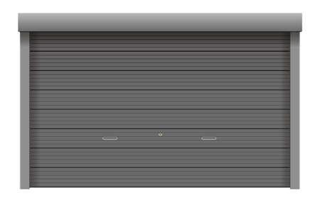 Roller shutter door vector illustration (gray, silver, black) Vectores