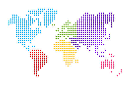 Simplified world map drawn with round dots. Vector illustration (different colors for each continent)