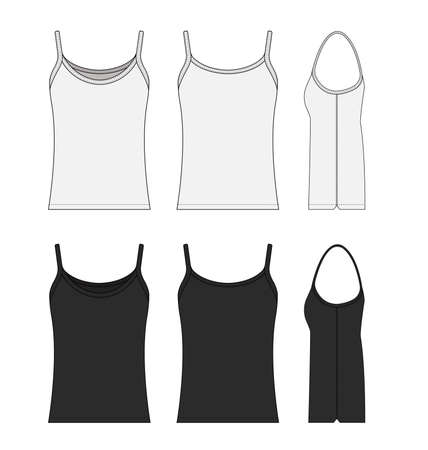 Woman camisole dress template illustration set