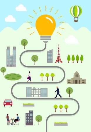 Light bulbs and everyday scenery Vertical banner illustration ( Idea / Inspiration Metaphor )