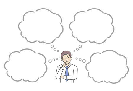 Vector illustration of a thinking businessman with speech bubbles.