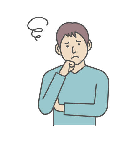 Vector Illustration of young man in trouble or confused. Иллюстрация