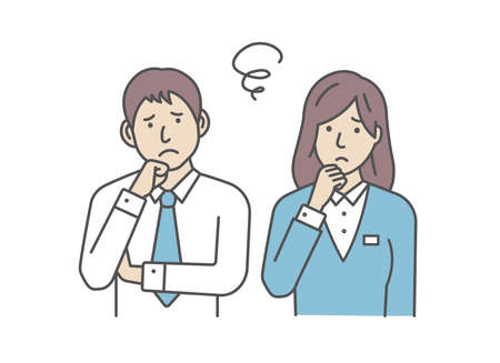 Vector Illustration of young businessman and businesswoman in trouble or confused. Иллюстрация