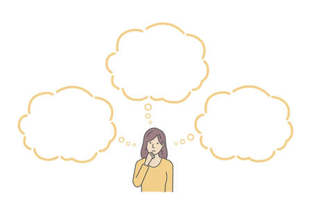 Vector illustration of a thinking woman with speech bubbles. Иллюстрация