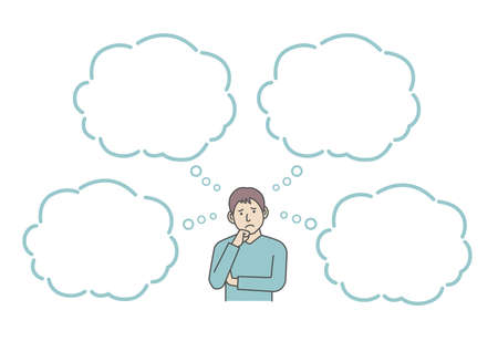 Vector Illustration of young man in trouble or confused with speech bubbles.
