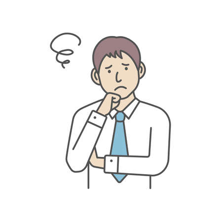 Vector Illustration of young businessman in trouble or confused.