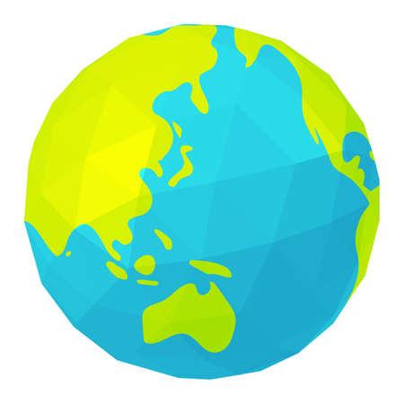 Vector Illustration of polygonized earth ( globe ) Ilustración de vector