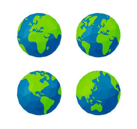 Vector Illustration set of polygonized earth ( globe )