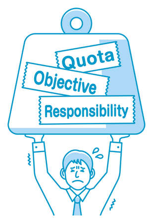 A person who holding big weight vector illustration. The metaphor of responsibility, quota etc. Vettoriali
