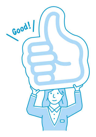Young business woman holding cardboard plate ( thumb up ) illustration.