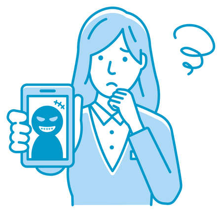 Vector illustration of businesswoman in trouble with smartphone fraud.