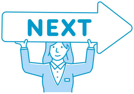 Young businesswoman holding arrow sign ( link to next page ) vector illustration Ilustração