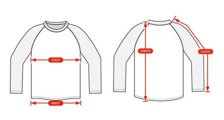 Clothing size chart vector illustration ( Raglan sleeve shirt )